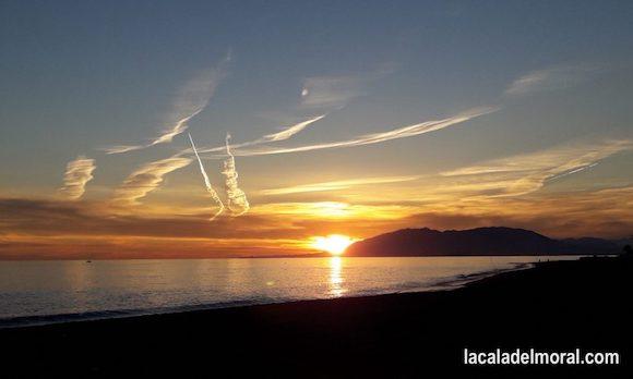 Puesta de Sol en Málaga desde la Playa de La Cala del Moral